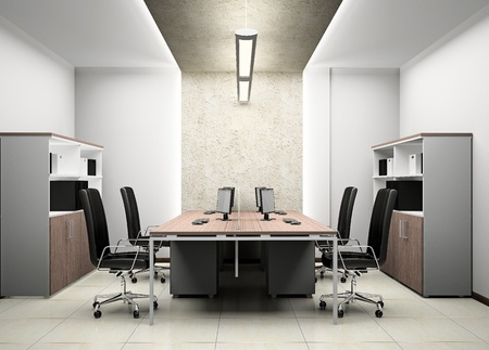muebles de oficina: Interior de la oficina moderna en 3D