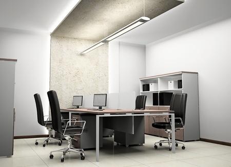reunion de trabajo: Interior de la oficina moderna en 3D