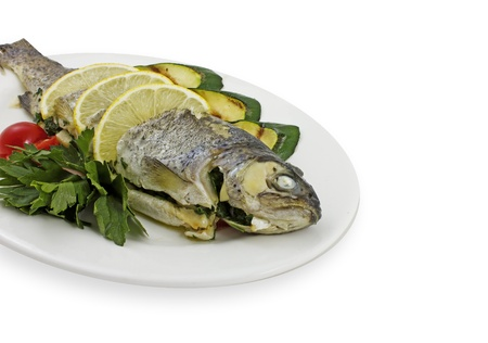Photo of fish with vegetables on a plate Stock Photo - 23000616