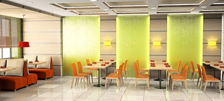 bar stool: Modern interior of cafe 3D