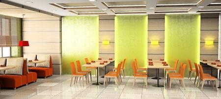 Modern interior of cafe 3D
