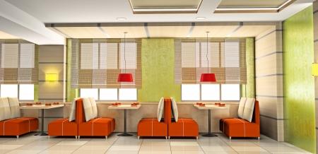 Modern interior de la cafetería 3D