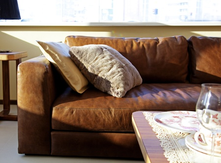 sofa furniture: Photo of a cozy sofa in an interior