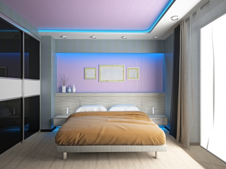 chambre � coucher: Modern interior of a 3D chambre � coucher Banque d'images