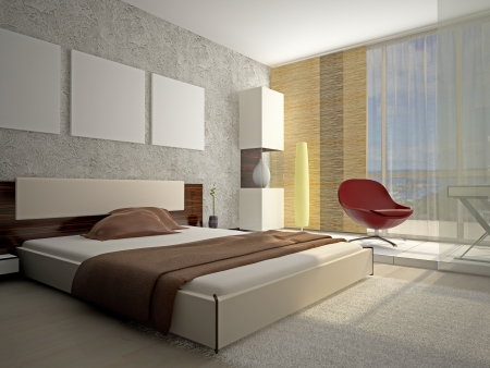 Modern interior of a bedroom room 3D Stock Photo - 16903538