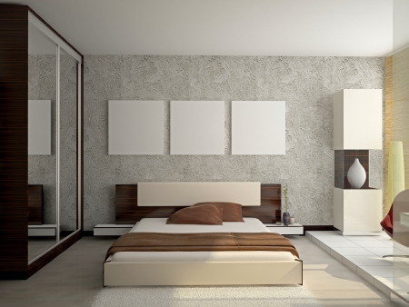chambre à coucher: Intérieur moderne d'une salle 3D chambre