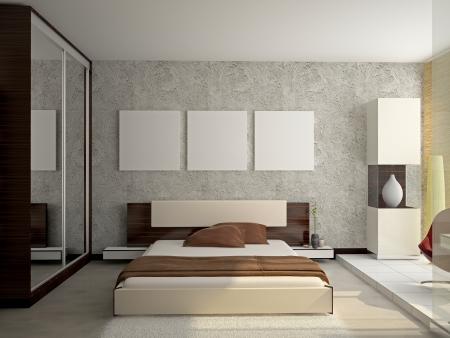 bedroom: Modern interior of a bedroom room 3D