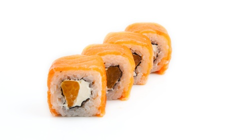 mouth watering: Photo of a rolled and sushi