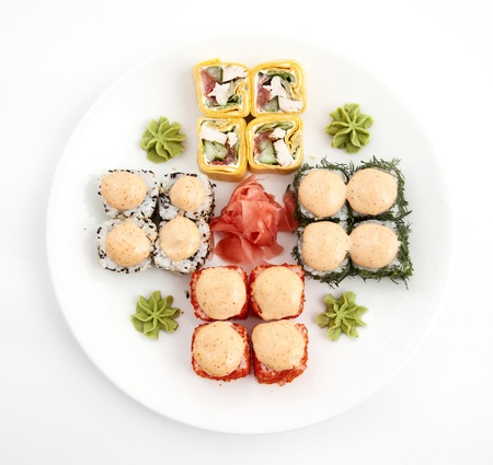 mouth watering: a rolled and sushi