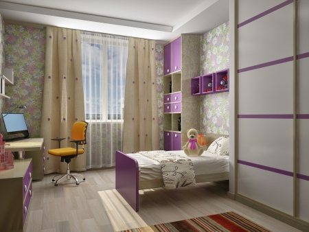 architectural rendering: Modern interior of a children Stock Photo