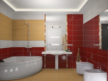 Modern interior of a bathroom 3D photo