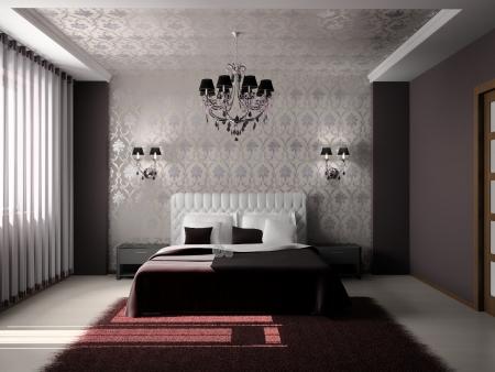 chambre � � coucher: Int?eur moderne d'une chambre ?oucher en 3D Banque d'images