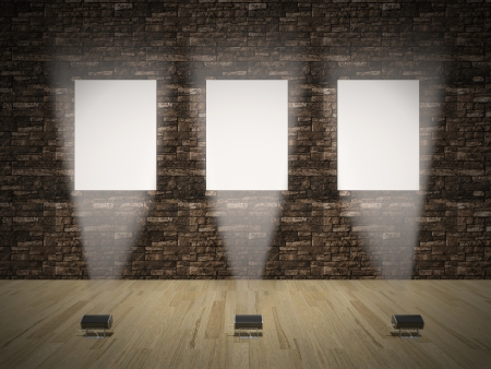 Interior with empty frames on wall 3D Stock Photo - 21751333
