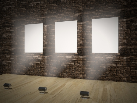 Interior with empty frames on wall 3D Stock Photo - 21751334