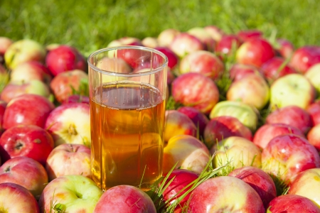 apples with a glass of juice Stock Photo - 21751374