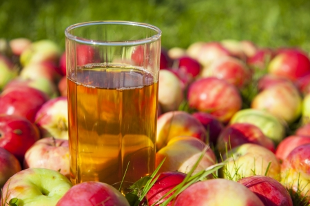 apples with a glass of juice Stock Photo - 21751377