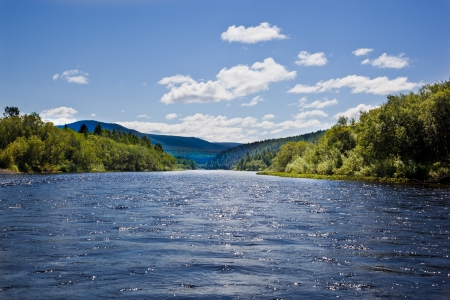landscape with mountains trees and a river in front Stock Photo - 22141523
