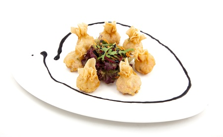 meat dumplings on a plate on white background Stock Photo - 22141538