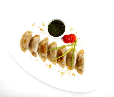 meat dumplings on a plate on white background Stock Photo - 22141540