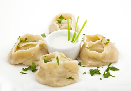 meat dumplings on a plate on white background Stock Photo - 22141542