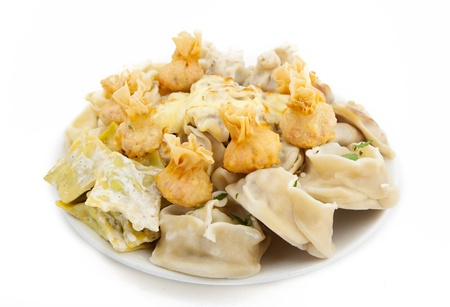 meat dumplings on a plate on white background Stock Photo - 22141543