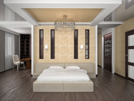 Modern interior of a bedroom room 3D Stock Photo - 23007450