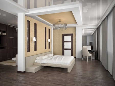 Modern interior of a bedroom room 3D Stock Photo - 23007451