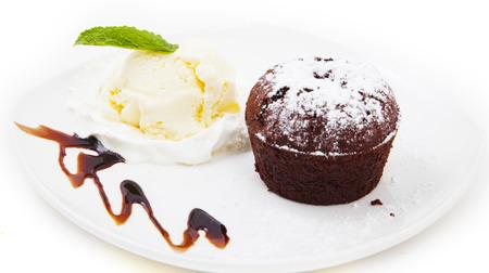 strawberry chocolate: dessert on white background Stock Photo