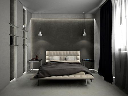 Moderne interieur van een slaap kamer kamer 3D