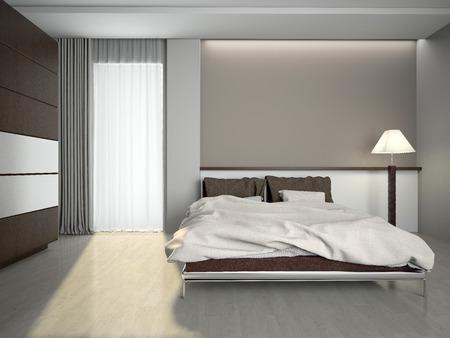 Modern interior of a bedroom room 3D rendering photo