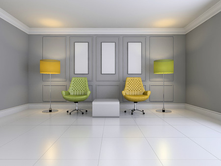 empty interior: Image of empty interior with furniture 3D rendering Stock Photo