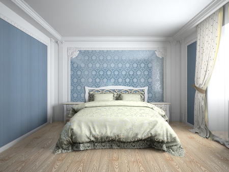 Interior of a bedroom room 3D rendering photo