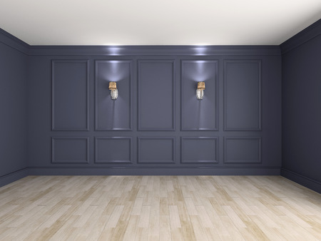 Empty interior with lamps 3d rendering