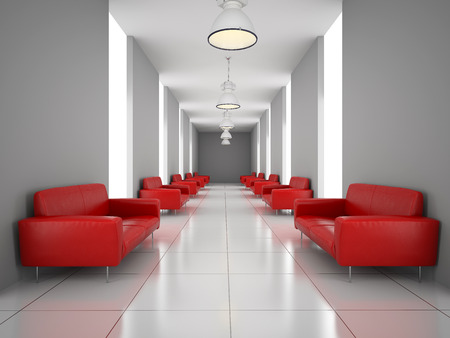 red sofa: Abstract hall with a red sofa wall 3D rendering