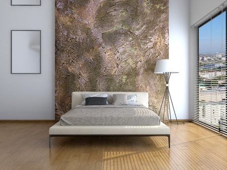 Modern interior of a bedroom room 3D rendering Фото со стока