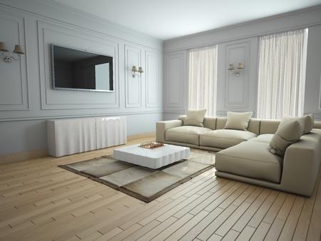 Interior moderno de una sala de estar de renderizado 3D