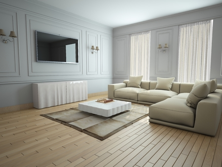 living room design: Modern interior of a living room  3D rendering