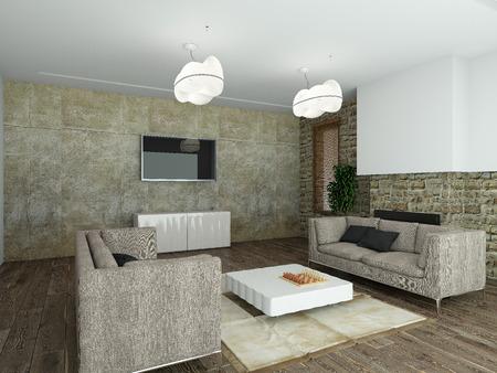 Modernes Interieur Aus Einem Wohnzimmer 3D-Rendering Lizenzfreie ...
