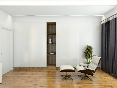 Modern interior with a chair and a wardrobe 3D rendering Standard-Bild