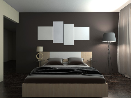 Modern interior of a bedroom room 3D rendering Foto de archivo