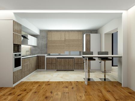 kitchen modern: Interior of modern kitchen (3D) Stock Photo