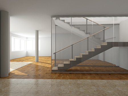 Modern staircase to the second floor Stok Fotoğraf
