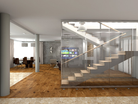 second floor: Modern staircase to the second floor Stock Photo