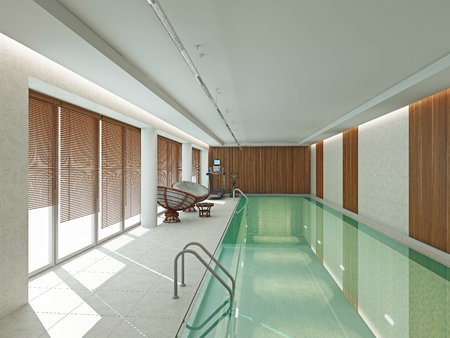 no swimming: Iinterior swimming pool  3D rendering