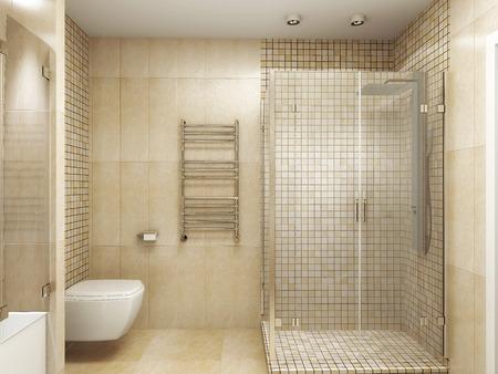 Modern interior di un rendering 3D bagno