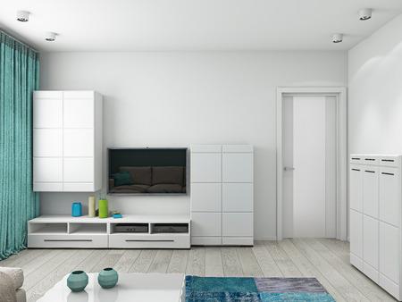 Interior moderno de una sala de estar de renderizado 3D Foto de archivo
