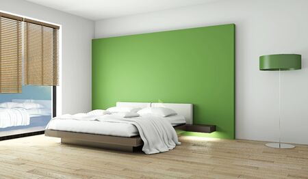 Bed in an empty room in the style of minimalism. 3D Rendering.