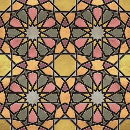 A quadruple cluster of seamless arabesque tiles in dominantly yellow, pink and green colors