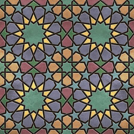 A quadruple cluster of seamless arabesque tiles in dominantly yellow, blue and green colors