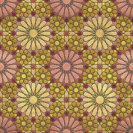A quadruple cluster of seamless arabesque tiles in dominantly yellow, red  and pink colors